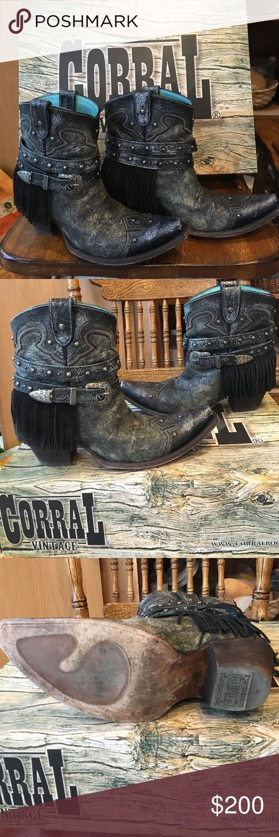 Corral Vintage Short Cowboy Boots These boots are Corral Vintage.  Awesome boots, the straps & fringe come off.  They are a silver & black color.  I just had to have them in this color & they had this last pair which are 9 & a half.  I have worn them about 10 times and they are just too big for me.  I am firm on the price. Corral Vintage Shoes Ankle Boots & Booties