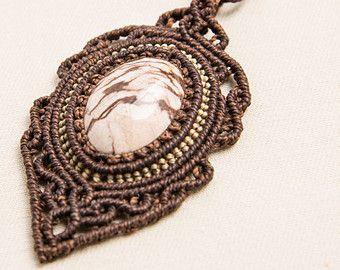 Macramè con collana diaspro Zebra, naturale pietra Semi preziosi gioielli, caffè, bianco, regalo, damigella d'onore, elegante, bohemien, ha detto, rococò