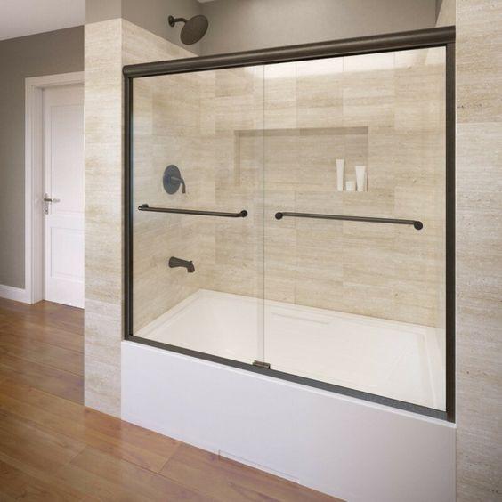 Infinity 58 5 X 57 Frameless Bypass Sliding Tub Door In 2020 Bathtub Doors Tub Doors Tub Shower Doors