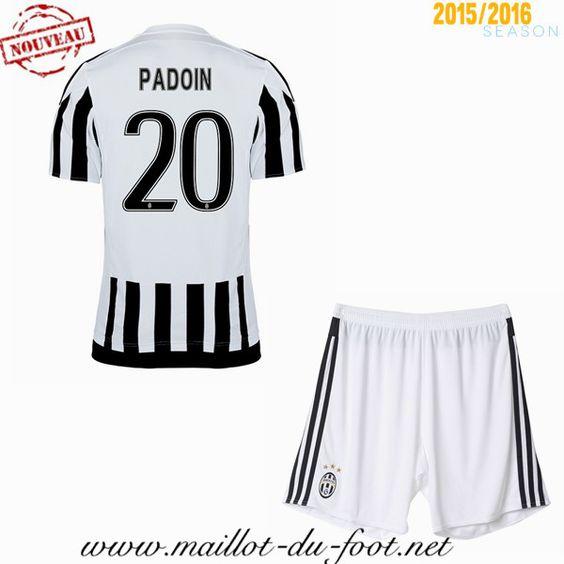 boutique de Maillot de foot Juventus Enfant PADOIN 20 Domicile 2015 2016 pas cher