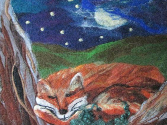 fox picture felt art fox textile art fox 20 x by SueForeyfibreart