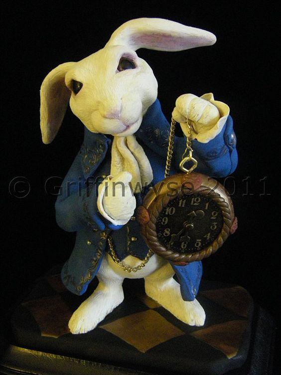 Alice in Wonderland White Rabbit Sculpture by Griffinwyse on Etsy