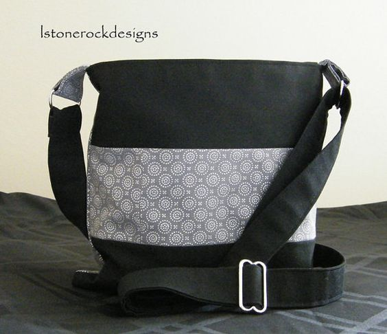 Black Patchwork bag w/silver circle pattern by lstonerockdesigns, $35.00
