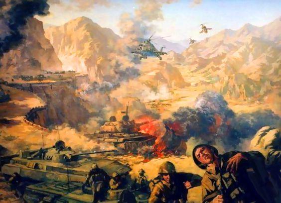 Soviet troops under fire by the Mujahideen fighters in Afghanistan: