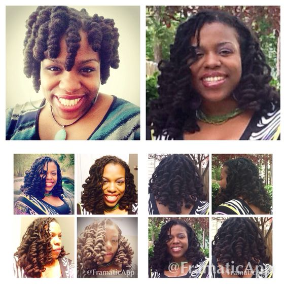 Locstyle :Shirley Temple Curls before (top left) & After #locs