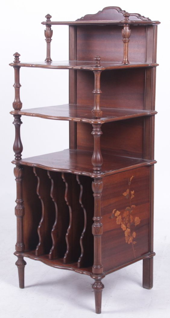 An Emile Galle Mahogany Music Shelf.  Realized $600 in our January 2015 Auction.
