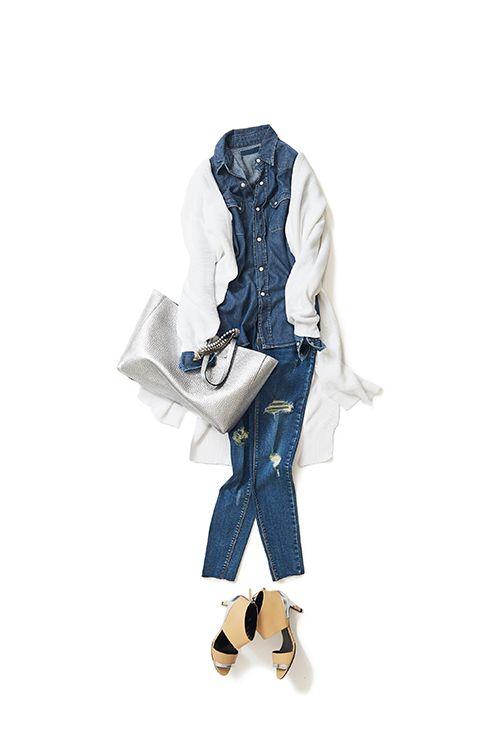 2016-04-24 デニム・オン・デニムの進化系スタイル | jeans price :18,036 brand : MISS HAPPY | bag price :47,520 brand : ORCIANI | shoes brand : PIERRE HARDY