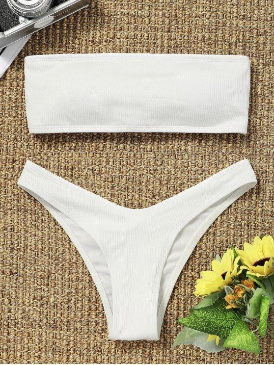ZAFUL Women Strapless Ribbed High Cut Bandeau Bikini Set