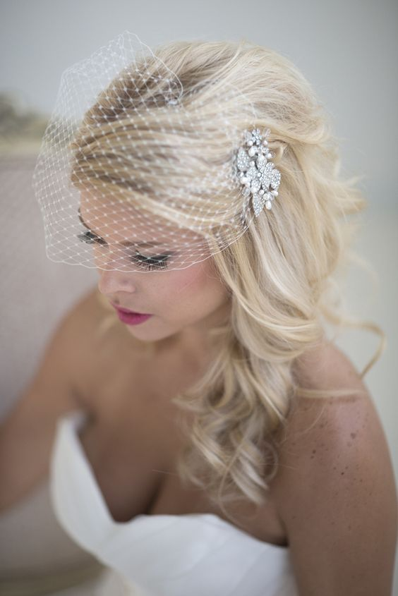 Birdcage Veil With A Rhinestone Comb And Long Hair Down Veil Hairstyles Vintage Wedding Hair Bridal Hair Down