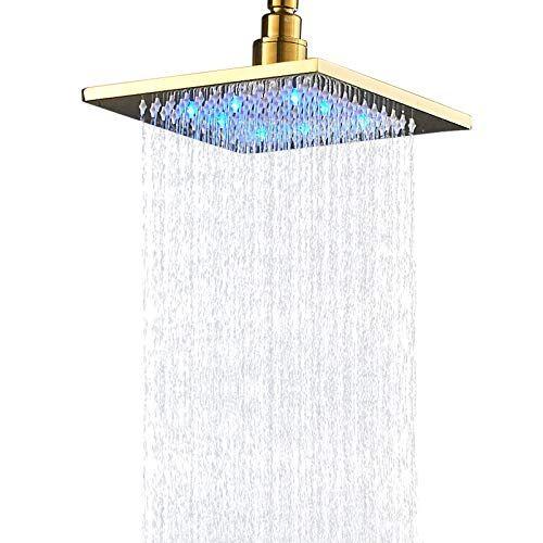 Senlesen Bathroom Led Light 8 Inch Rainfall Shower Head Square