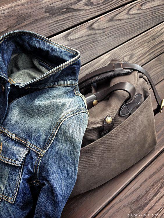 Filson Briefcase & NUDIE Jeans JACKET. Photo by: Timurpix.