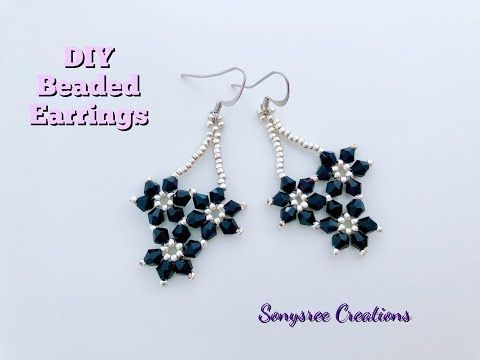 Falling Flower Earrings Diy Beaded Earrings Youtube Beaded