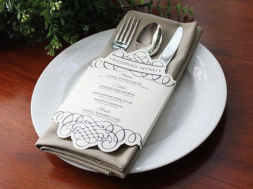 Floral Lace Inspired Wedding Menus That Wrap Around The Napkins At - Menu place cards template