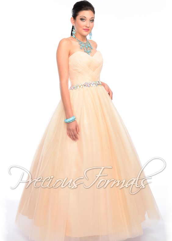 Precious Formals P21038 - Nude Strapless Beaded Ball Gown Prom Dresses Online #thepromdresses