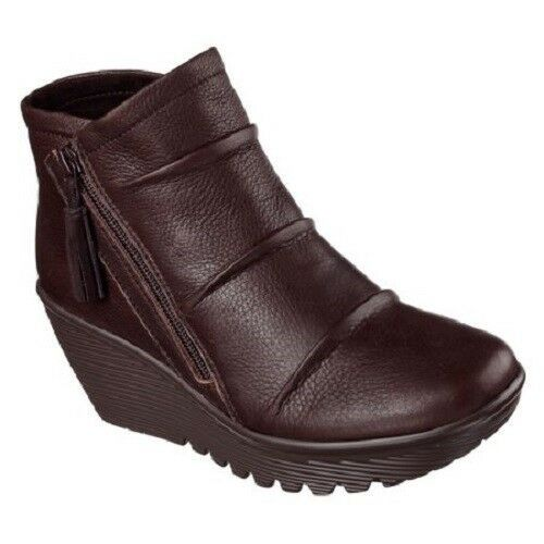 Skechers Womens Parallel Double Trouble Ankle Bootie 48786 Choc