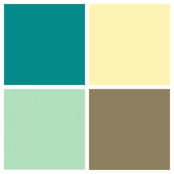Kitchen color palette butter country yellow mint - Colors that go with brown ...