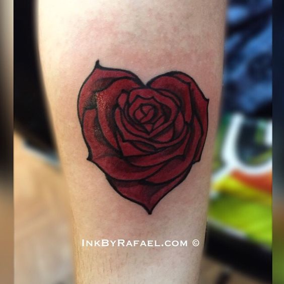 Heart shaped blooming rose tattoo for Rose heart tattoo