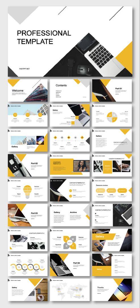 Black Yellow Business Presentation Template Desain Latar Belakang Seni