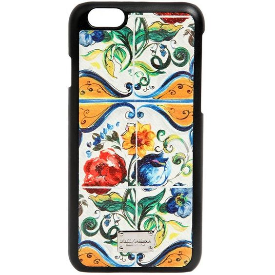 Dolce & Gabbana Women Maiolica Printed Iphone 6 Case ($270) ❤ liked on Polyvore featuring accessories, tech accessories and multi