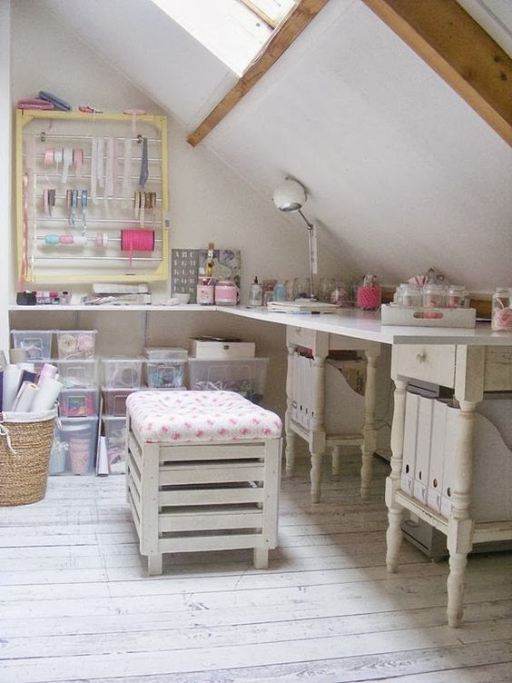 Crate storage stool in Frivole's attic craft room: