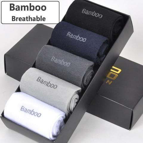 Socks Bamboo Fiber Long 5pairs Men Soft Casual Breathable Anti-bacterial Sports