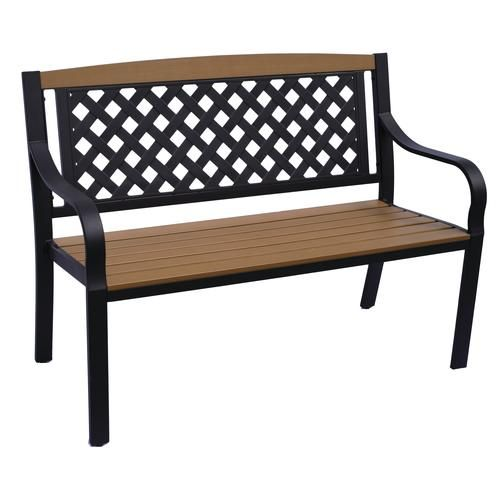 Backyard Creations Lattice Bench Brown On Sale At Menards 114 All Weather Construction Backyard Creations Patio Benches Outdoor Decor