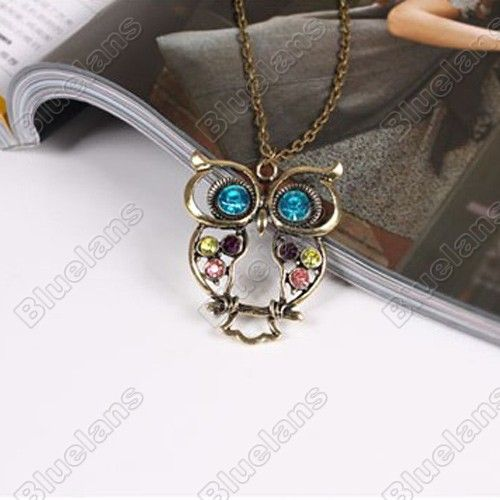 Discount China china wholesale Vintage Three-color Embedded drill Hollow carved Owl Pendant Necklace 5044 [5044] - US$1.49 : Bluelans