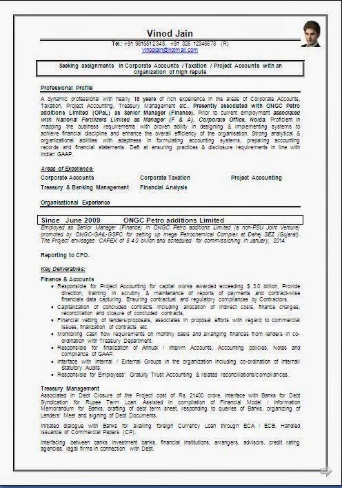 resume format for freshers accountant - Delliberiberi - resume format accountant