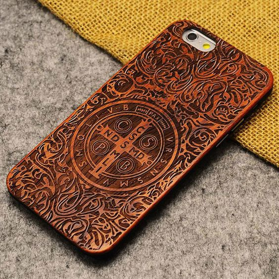 Handmade Carving Kasitading Cross Wood Case For Iphone 5/5S/6/6Plus