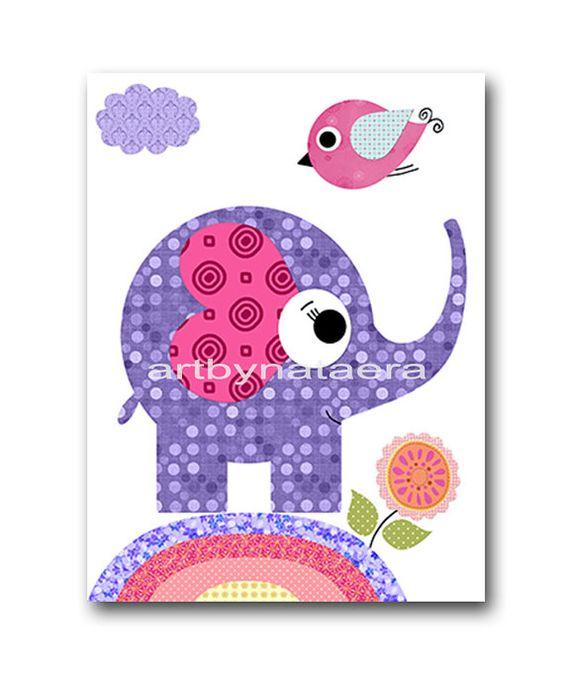 Elephant Nursery Print Kids Art Nursery Digital by nataeradownload