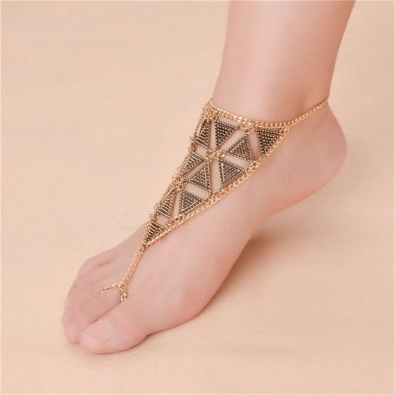 Bohemian Summer Style Fashion Silver Gold Plated gold silver plated Turkish Triangle Shape Anklet For Women Jewelry #jewelry #anklet #fun