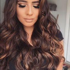 Long chocolate hair with caramel highlights coiffure pinterest coiffures chocolats et amour - Coloration chocolat caramel ...