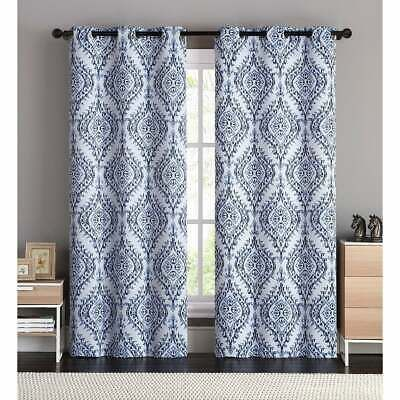 Set 2 Blue White Damask Curtains Panels Drapes Pair 84 96 Inch Grommet Darkening Curtains Panel Curtains Vcny