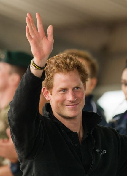 Prince Harry watches the athletics at Lee Valley Track during the Invictus Games on 11 September 2014 in London, England.