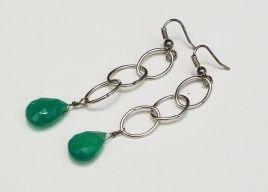 For sale ~ Linked In Green Onyx Earrings