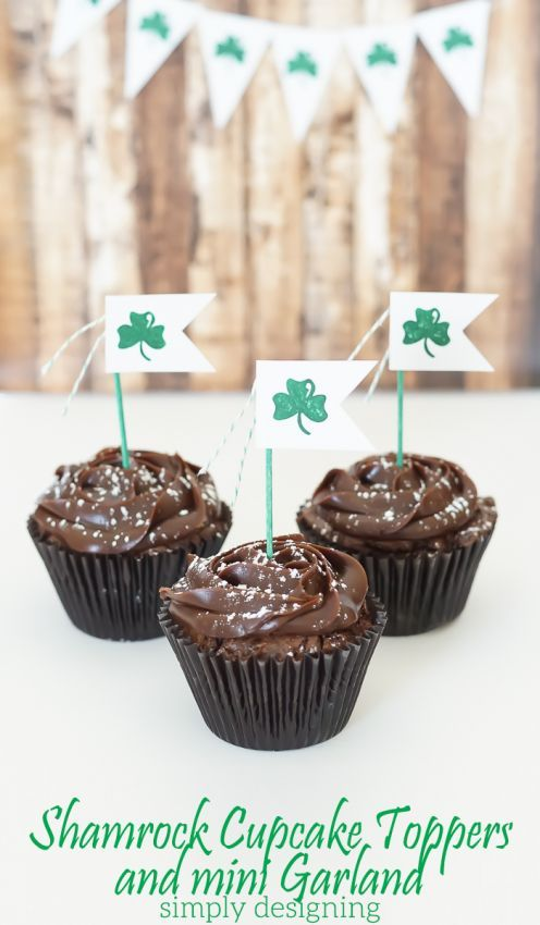 Shamrock Cupcake Topper and Mini Garland by Simply Designing