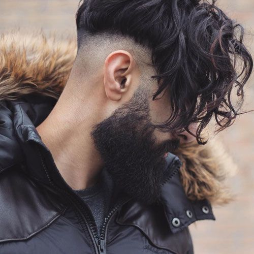 Long Curly Undercut With Fringe And Beard Mens Hairstyles Undercut Wavy Hair Men Undercut Hairstyles