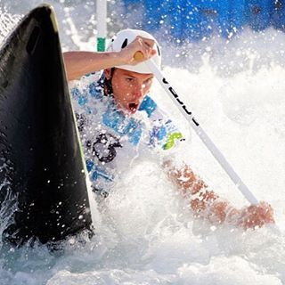 August 4 2016 - Competitor training for whitewater kayak event ahead of Rio2016