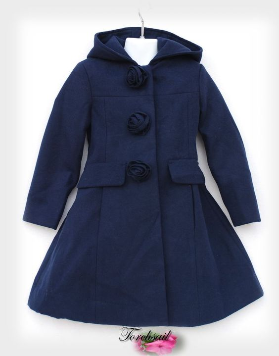 Rothschild Winter Dress Coat Girls Size 5 Non Wool Victorian Navy ...