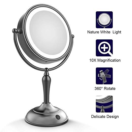 Mirrormore Led Makeup Mirror Lighted Vanity Mirror With 1x 10x Magnifying 7 5 Inch Double Sided Mirror With Stand Black Makeup Mirror Review Black Makeup Mirror Led Makeup Mirror Makeup Mirror