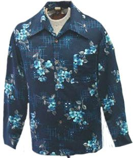 Vintage 1970s Mens Blue Print Disco Shirt | NeldasVintageClothing - Clothing on ArtFire