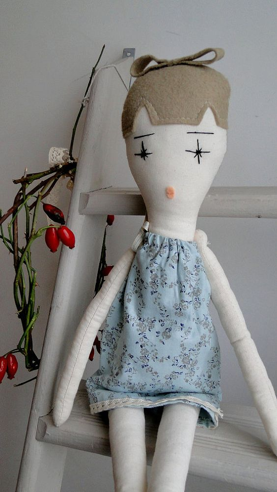 Handmade rag doll.Unique gift. One of kind by Nacotopocoto on Etsy, £30.00