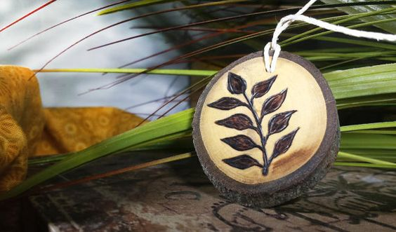 fern necklace fern pendant woodburned necklace tree slice wood burned jewelry wooden jewelry pyrography by RickiTimberTavi by Ricki Timber Tavi. Find it now at http://ift.tt/1Uy1vUg!