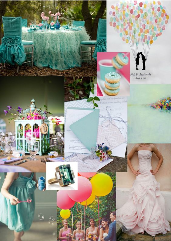 Mint Green, Teal and pops of color wedding inspiration!