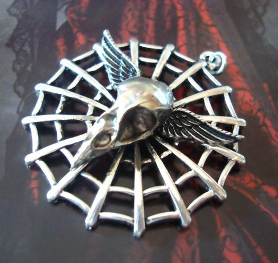 Spider Webbed Winged Bird Skull Pendant, Silver Plated, Very limited, Gothic Original Necklace Supply. $14.99nok, via Etsy.