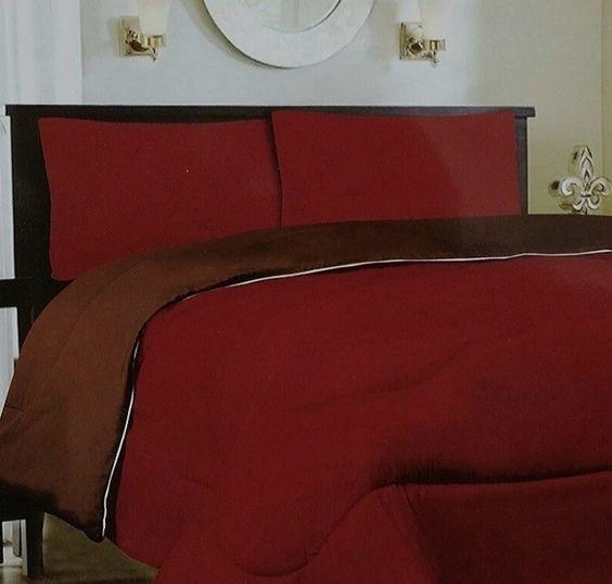 Down Alternative Reversible Comforter Burgundy/ Brown