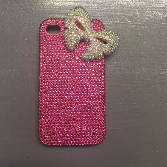 iPhone 5 case Swarovski Crystal pink iPhone case. Adorable. Upgraded phone no longer fits. Other