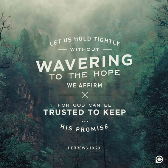 """""""Let us hold  tightly without wavering to the hope we affirm, for God can be trusted to keep his promise."""" -Hebrews 10:23"""