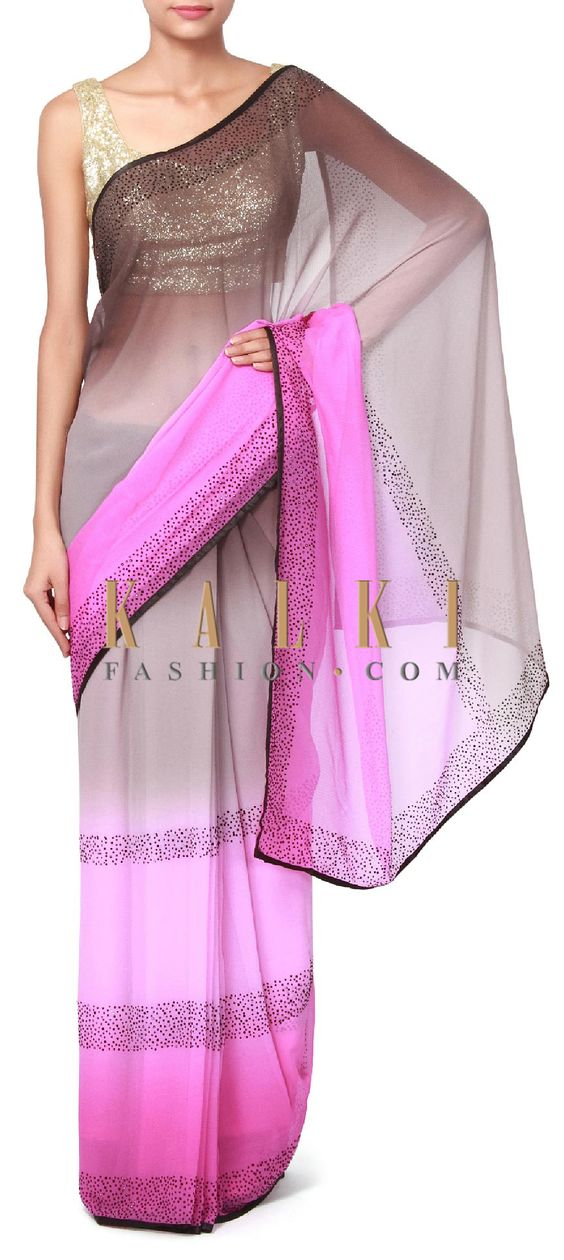 Buy Online from the link below. We ship worldwide (Free Shipping over US$100). Product SKU - 311133. Product Price - $109.00. Product Link - http://www.kalkifashion.com/grey-and-purple-shaded-saree-enchased-in-kundan-embroidery-only-on-kalki.html