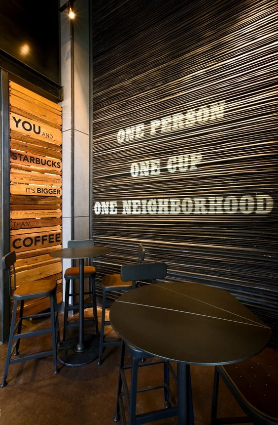 Tire Shops Around Me >> A wall in the Starbucks store in the Pearl District of Portland, Oregon is constructed with used ...